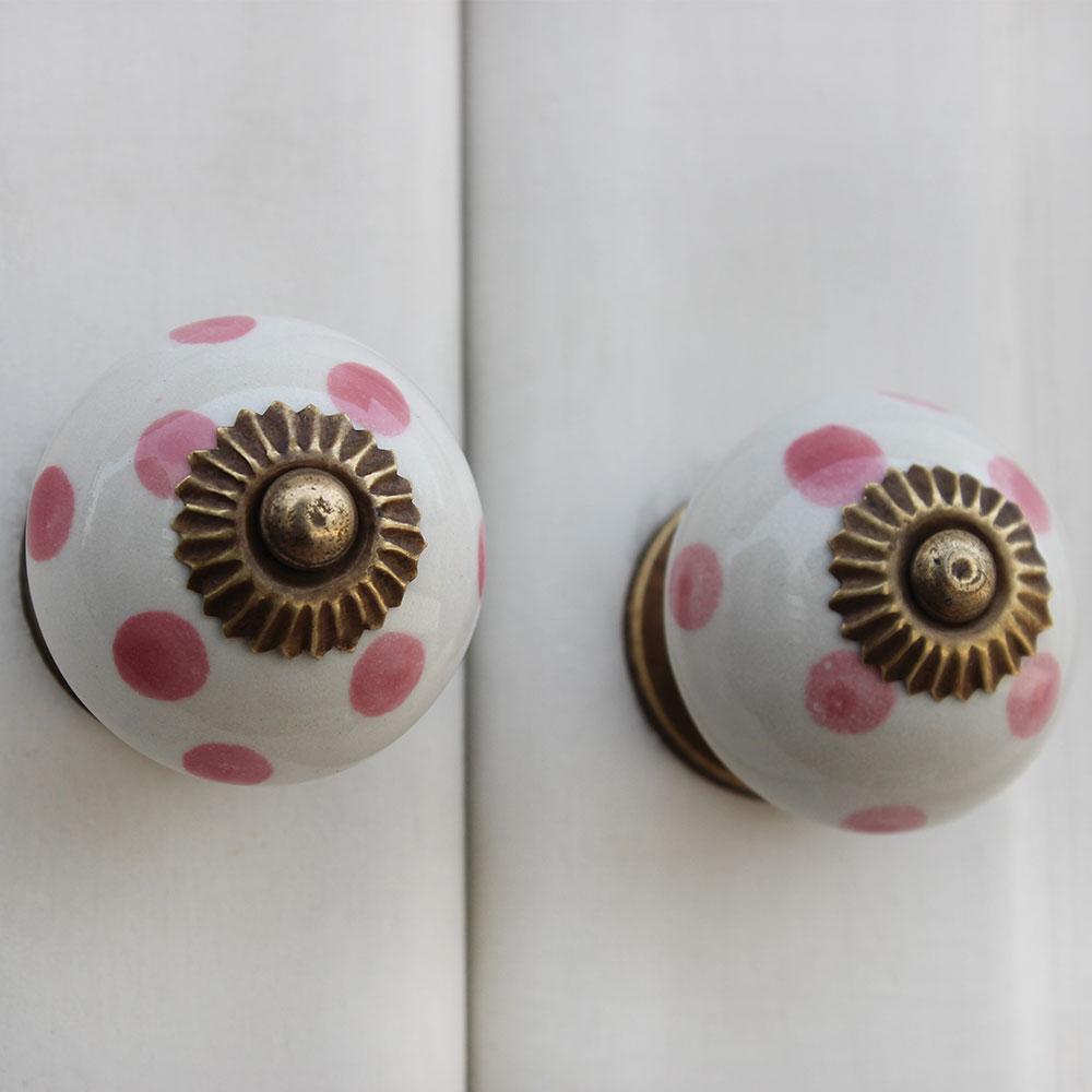 White Pink Dot Ceramic Drawer Knob