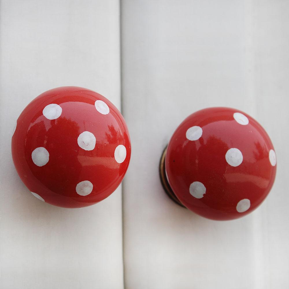 Red White Polka Ceramic Flat Drawer Knob