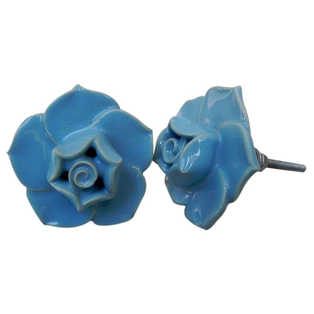 Sky Blue Flower Knob