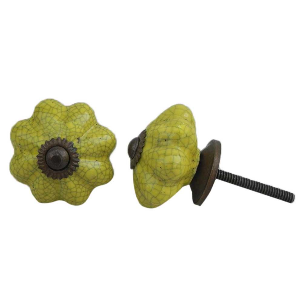 Yellow Crackle Ceramic Wardrobe Knob