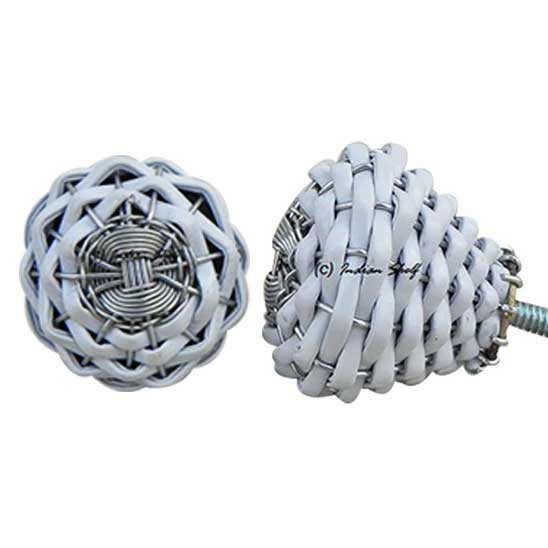 White Rexine Wire Knobs