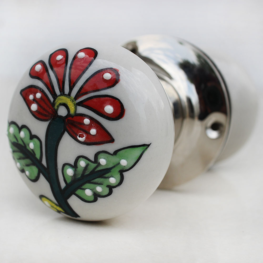 Lily Flower Mortice Door Handles 2.5