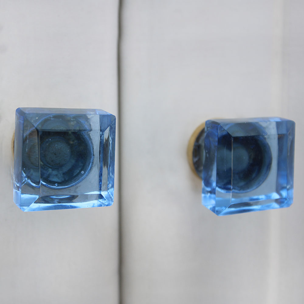 Slat Blue Square Small Drawer Knobs