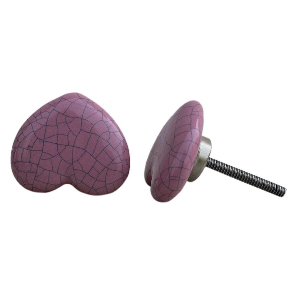 Pink Heart Crackle Ceramic Cabinet Knob