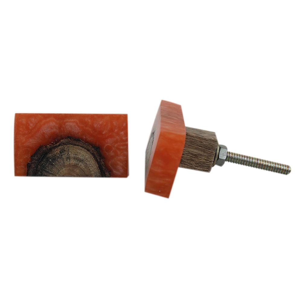 Stone Orange Knot Resin Knob