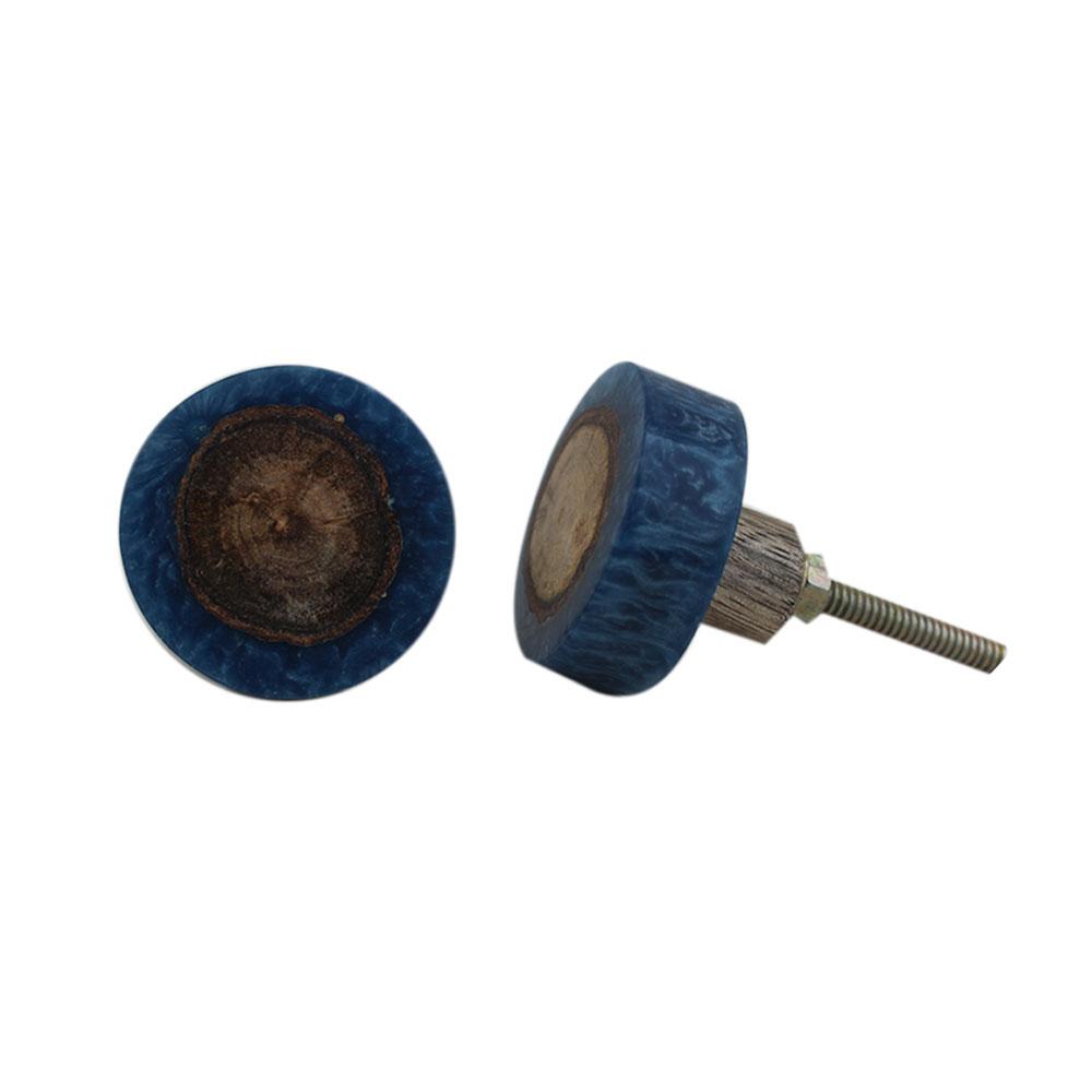 Stone Slate Blue Knot Resin Round Knob