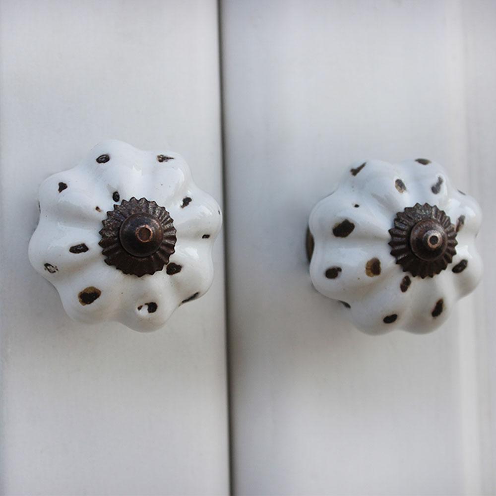 White Etched Medium Knob