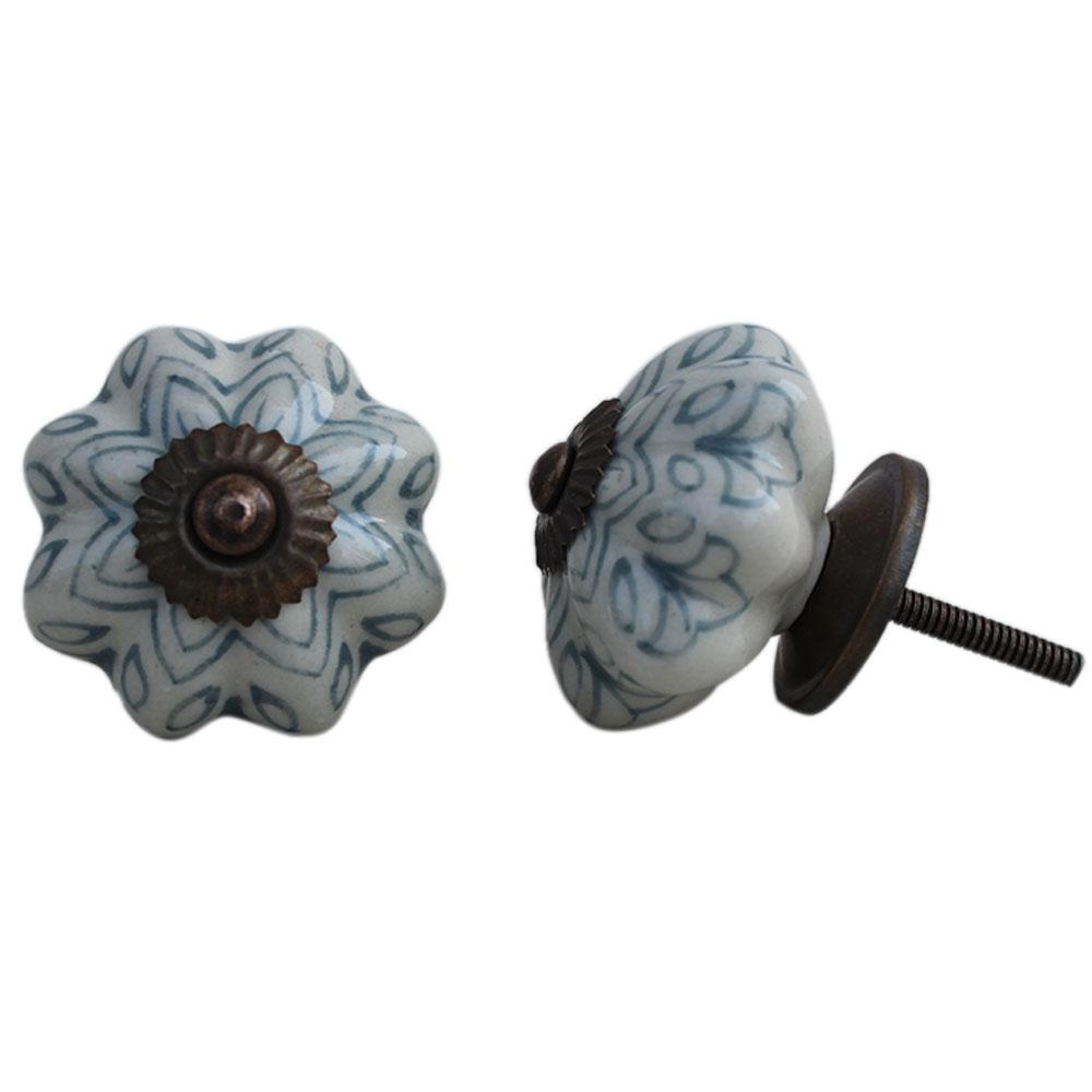Grey Flower Melon Ceramic Knob