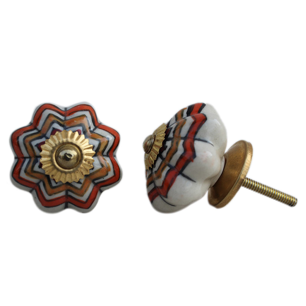 Mixed Floral Melon Ceramic Knob