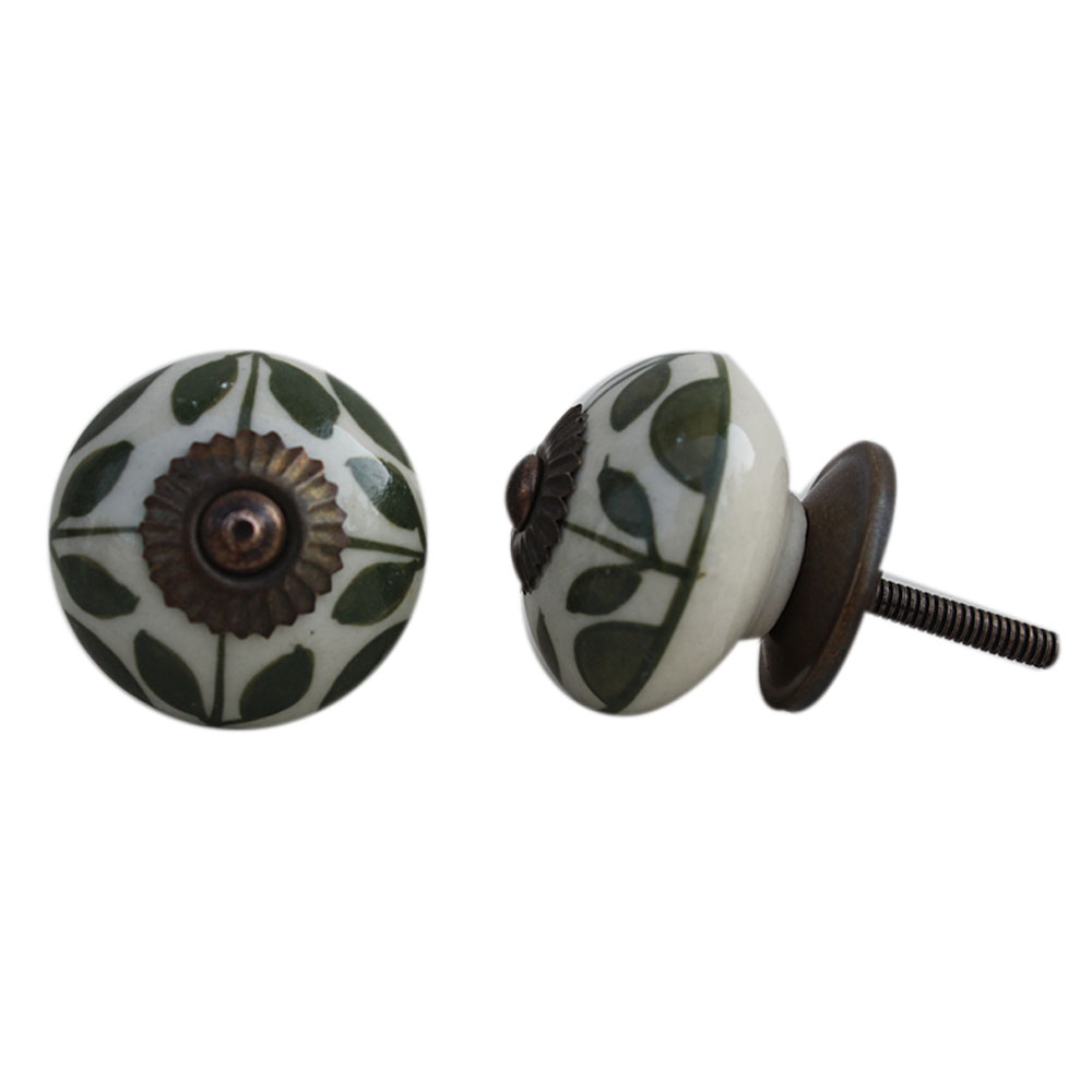 Old Green Floral Ceramic Knob