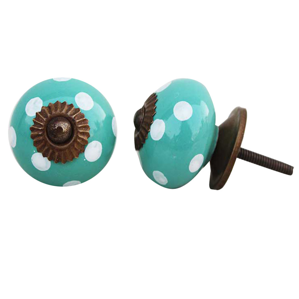 Sea Green Dotted Ceramic Knob