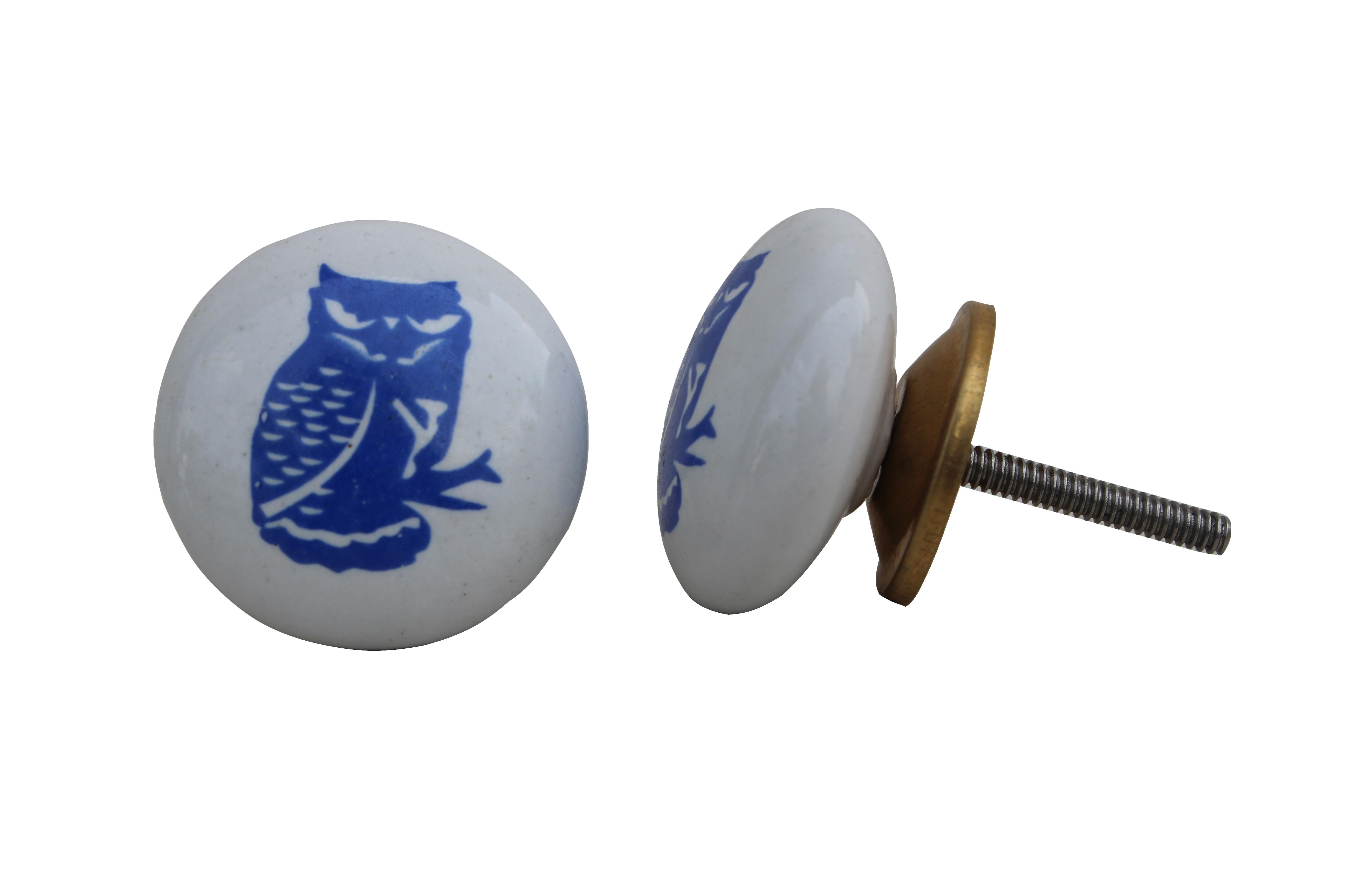 Blue Owl Flat Kids Drawer Knob