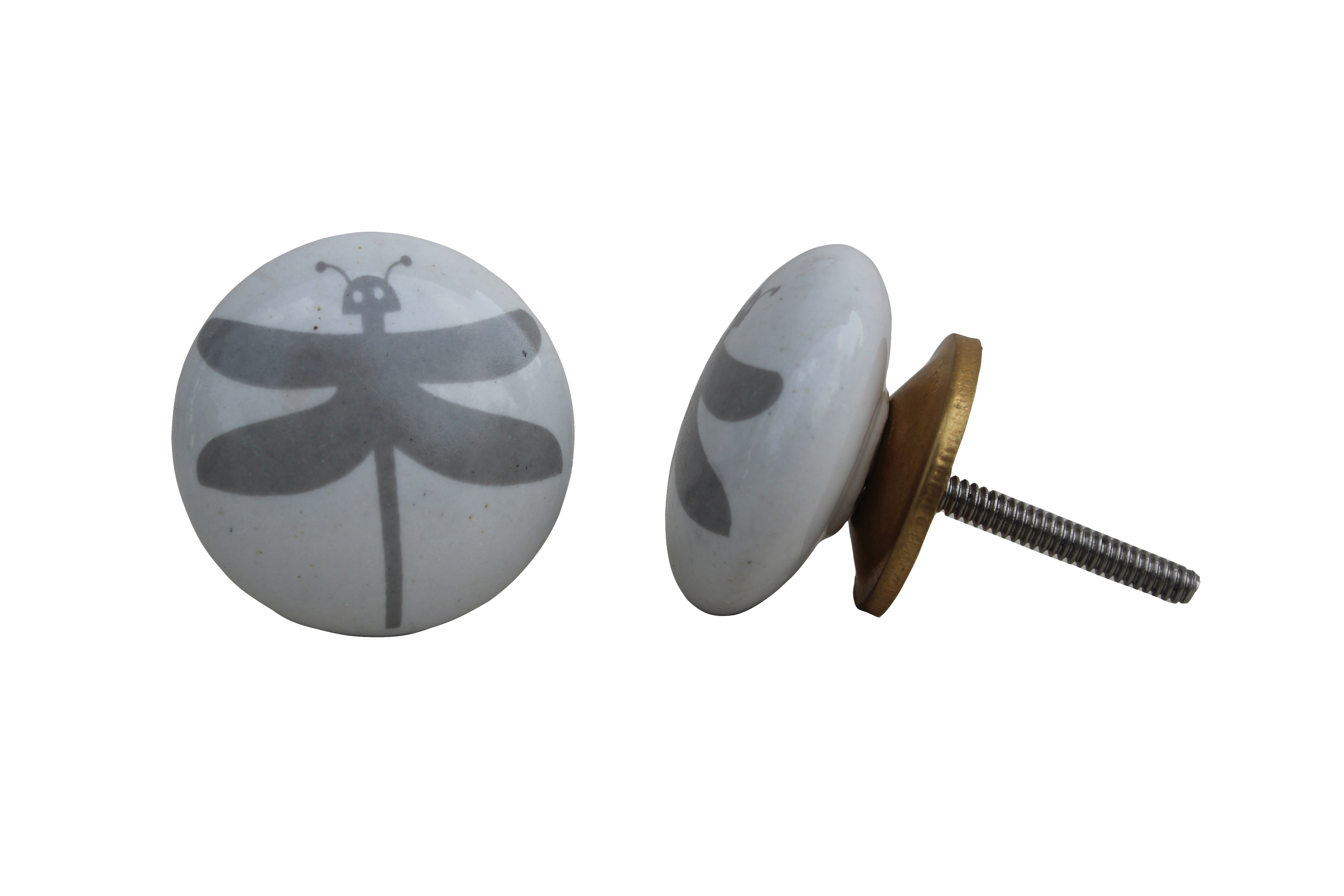 White Grey Butterfly Knob