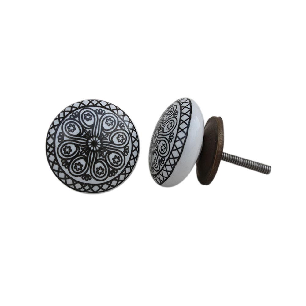 Black Wheel Flat Knob