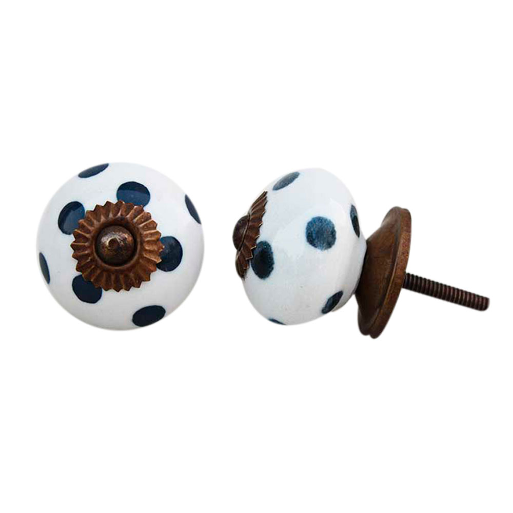White Dark Grey Polka Dotted Knob