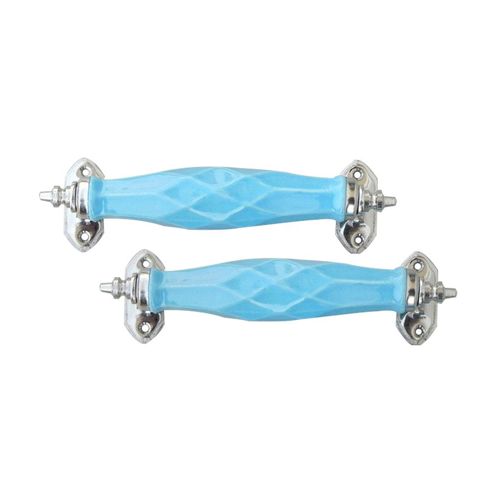 Sky Blue Cut Ceramic Cabinet Handles