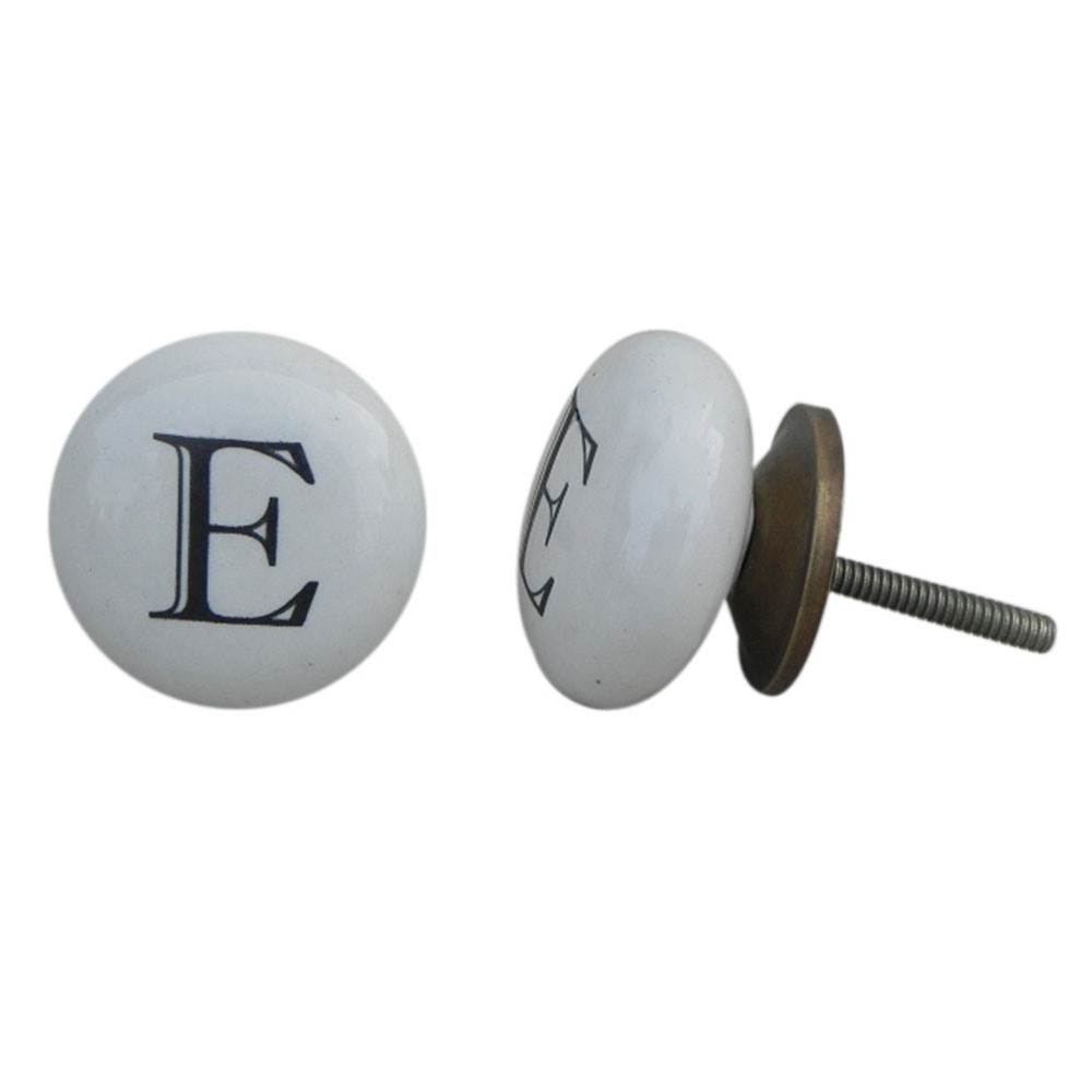 E Alphabet Ceramic Cabinet Knob