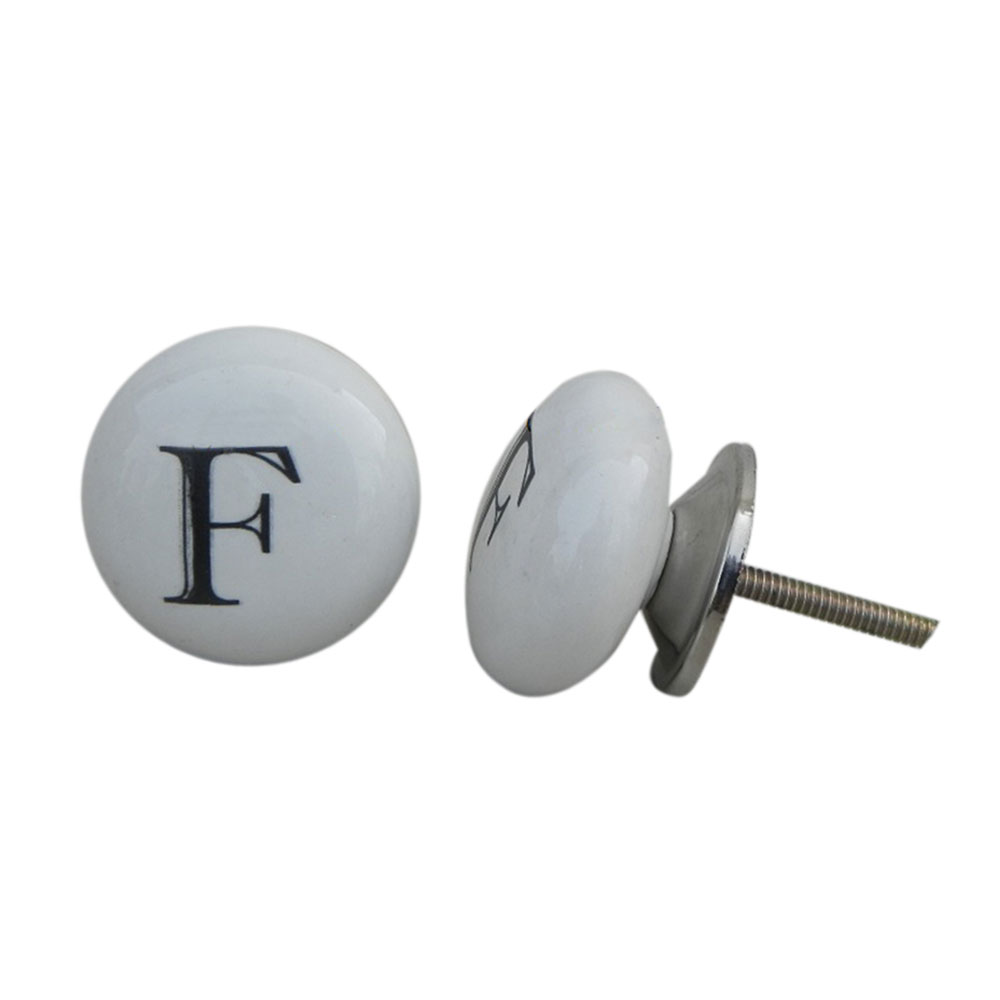 F Alphabet Ceramic Dresser Drawer Knob