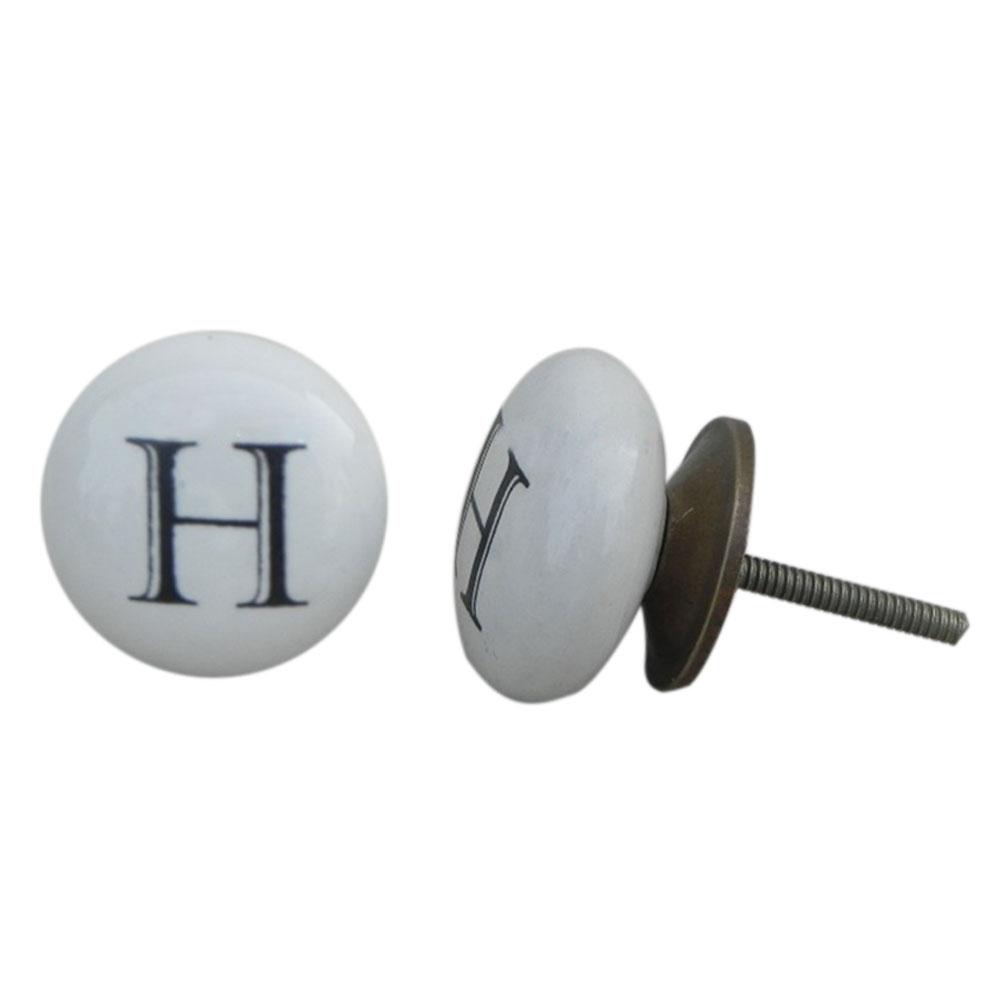 H Alphabet Ceramic Dresser Knob