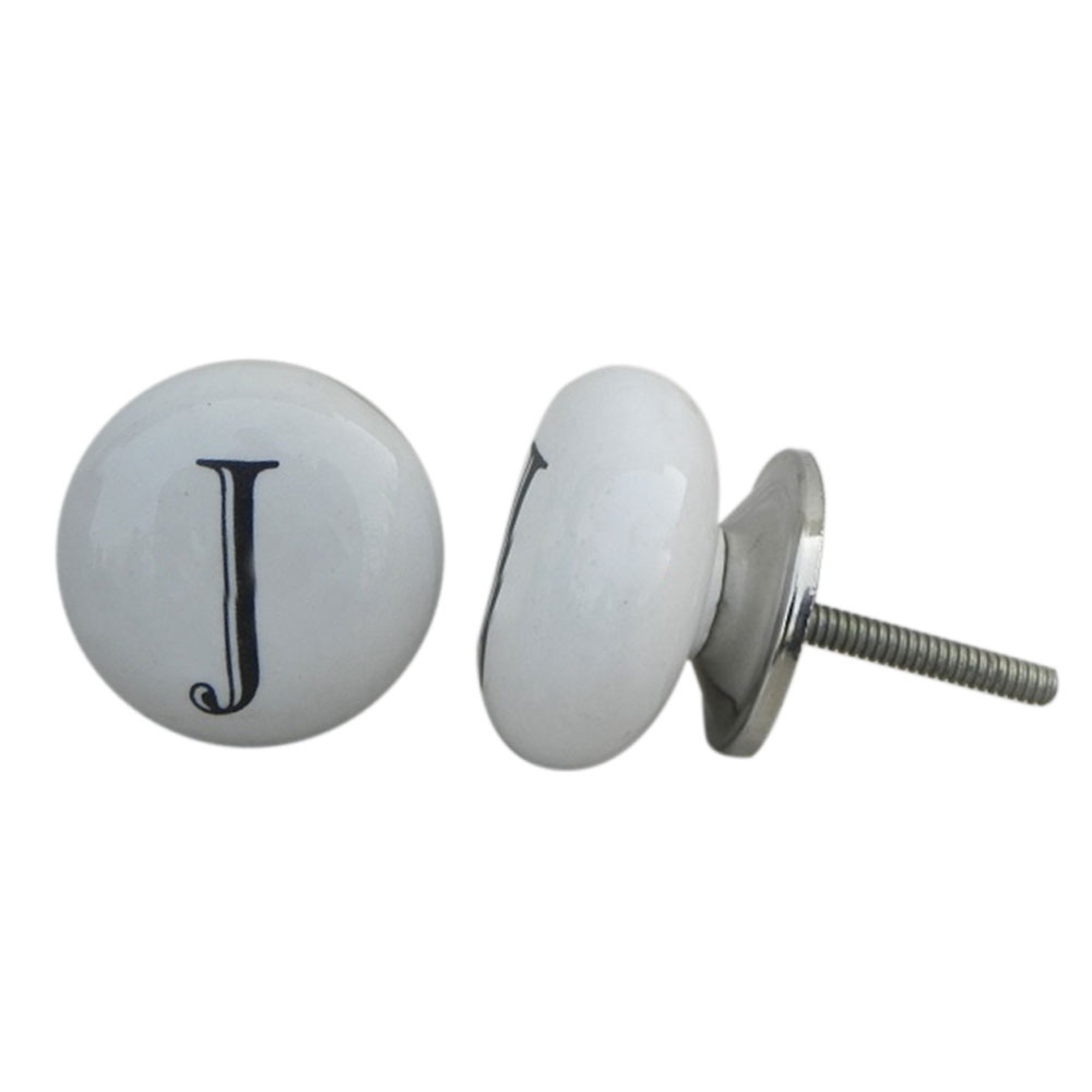 J Alphabet Ceramic Drawer Knob