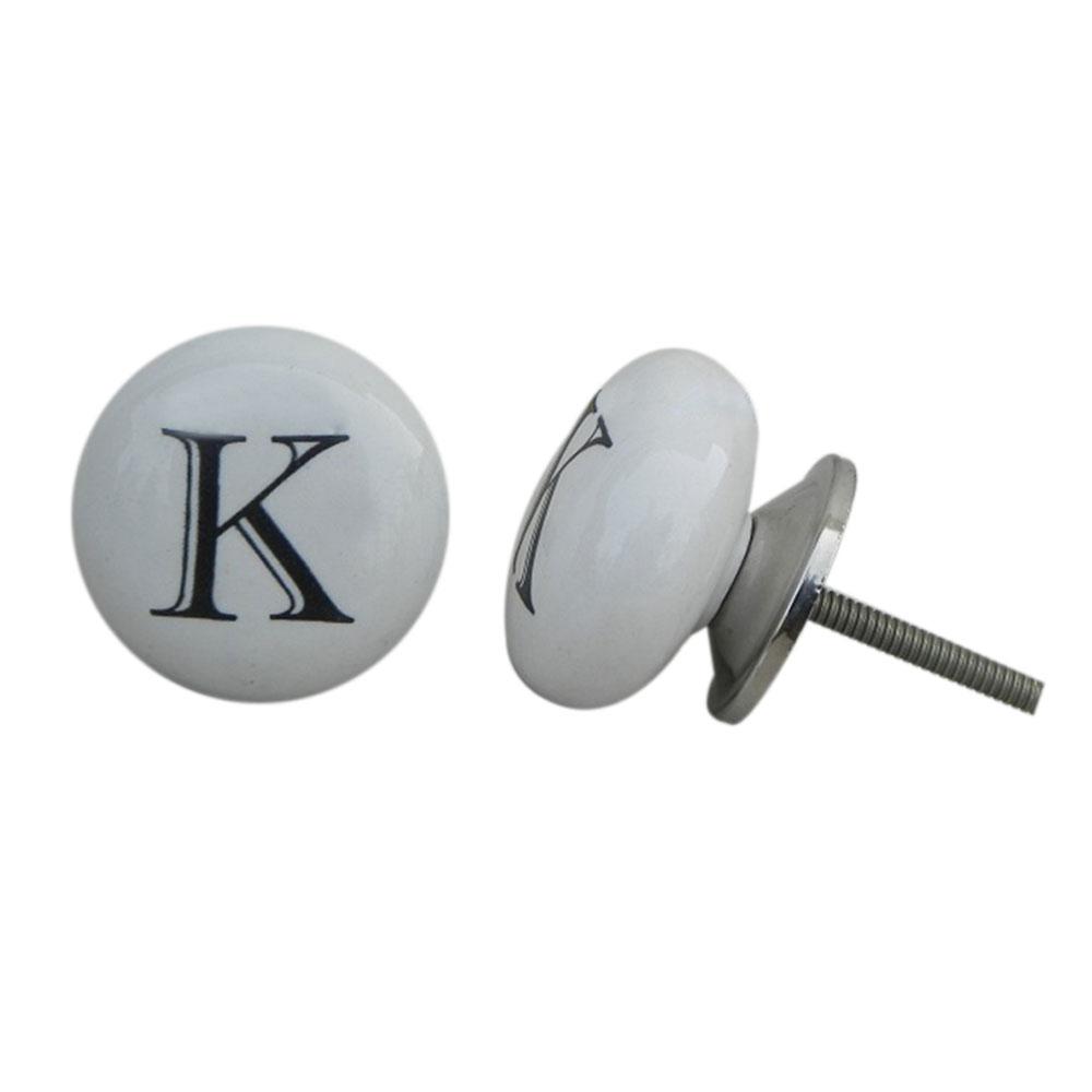 K Flat Alphabet Ceramic Dresser Knob