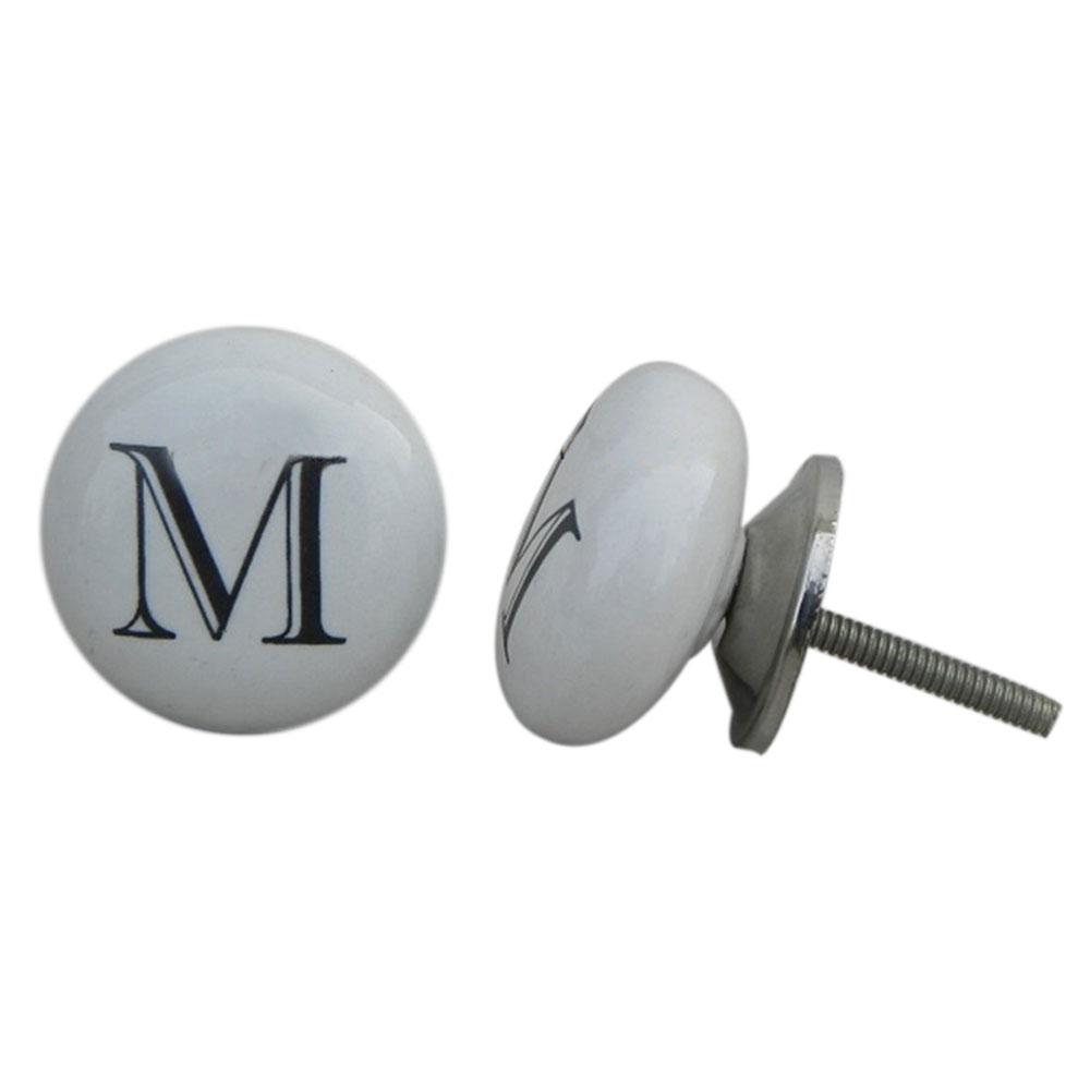 M Flat Alphabet Ceramic Furniture Drawer Knob