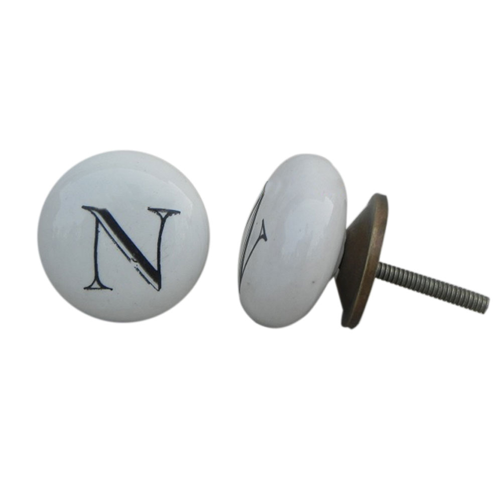 N Alphabet Ceramic Furniture Knob