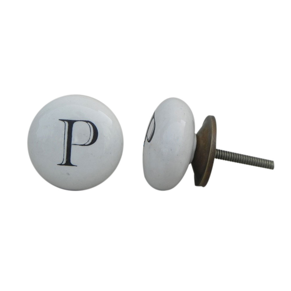P Alphabet Ceramic Wardrobe Door Knob