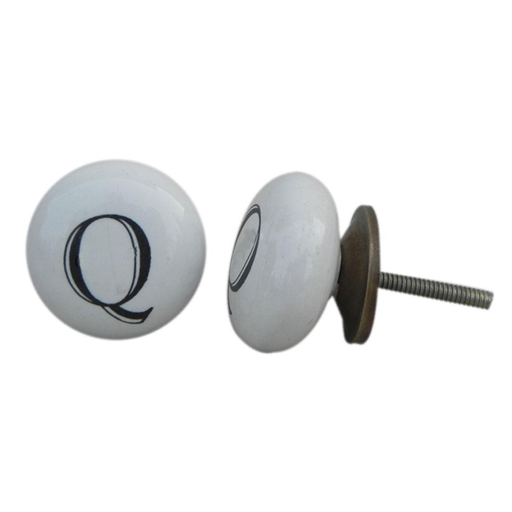 Q Alphabet Ceramic Wardrobe Drawer Knob