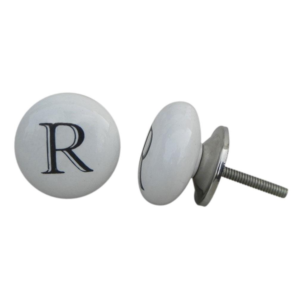 R Alphabet Ceramic Wardrobe Knob