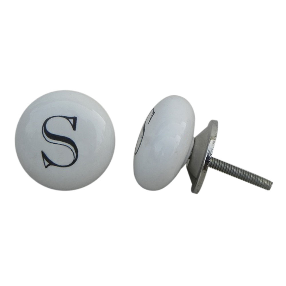 S Alphabet Ceramic Cupboard Door Knob