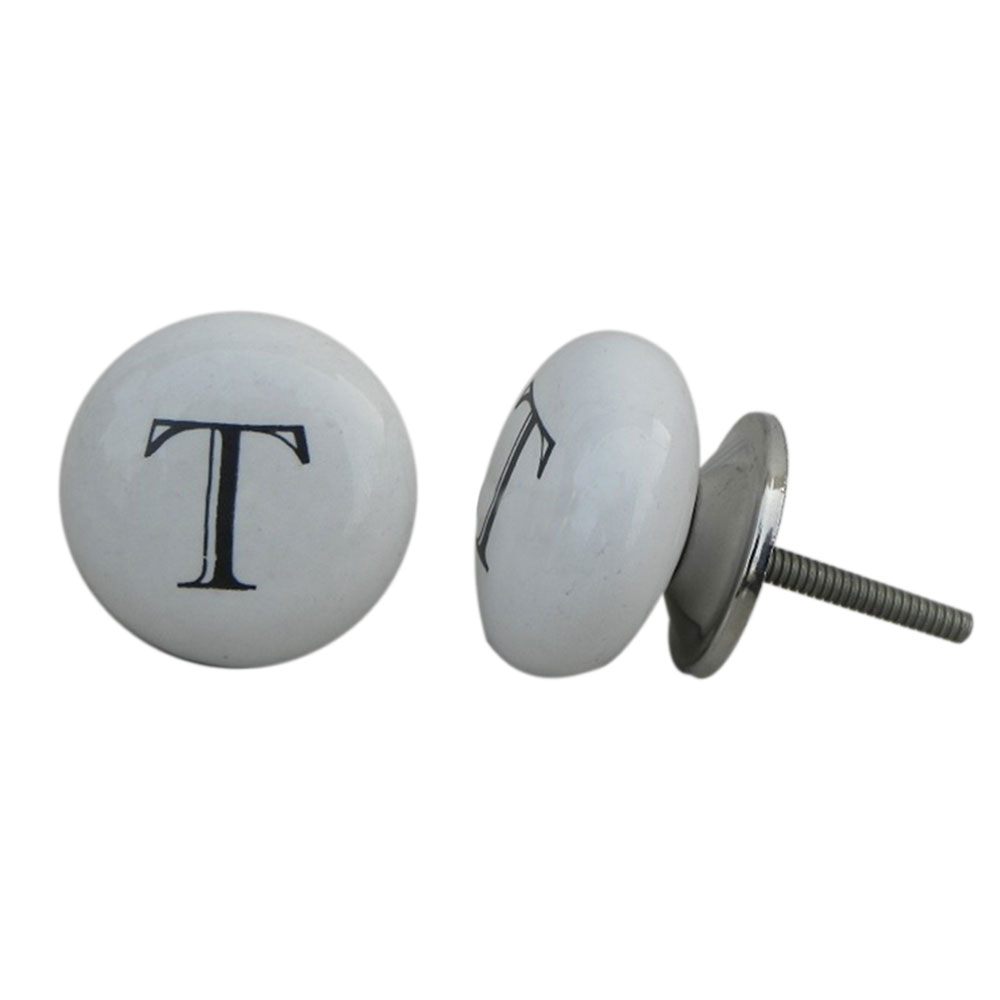 T Alphabet Ceramic Cupboard Knob