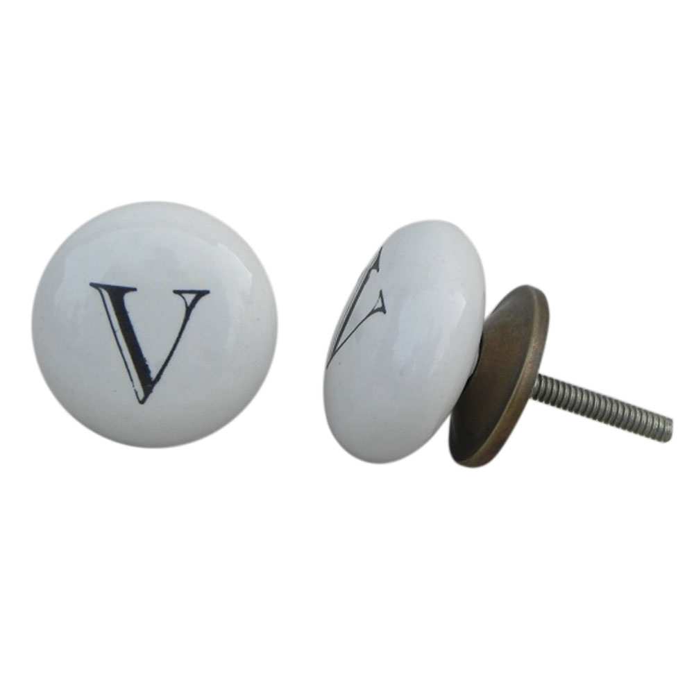 V Alphabet Ceramic Dresser Knob