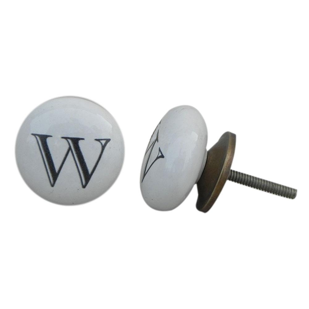 W Alphabet Ceramic Cabinet Drawer Knob