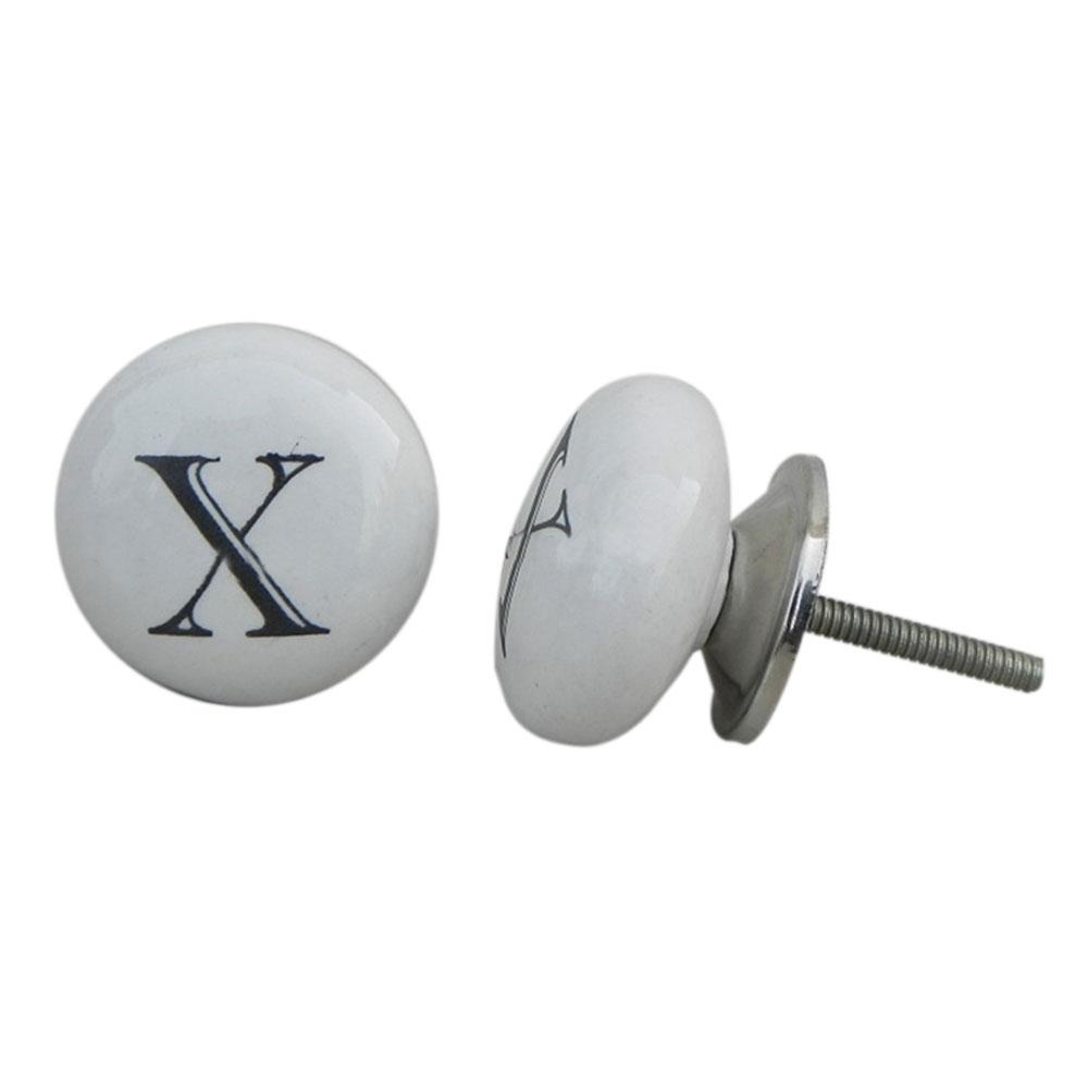 X  Alphabet Ceramic Cabinet Knob