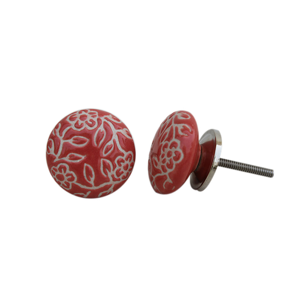 Pastel Red Etched Knob