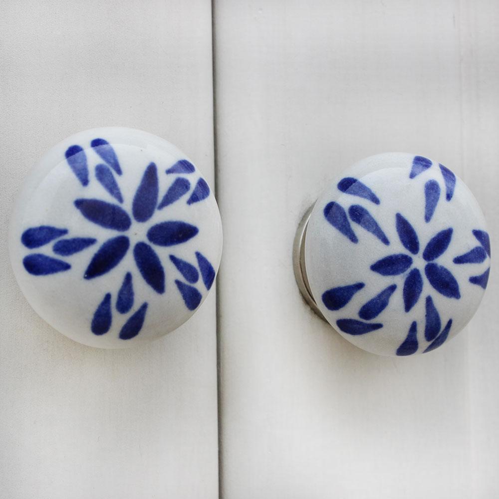 Blue Floral Flat Knob