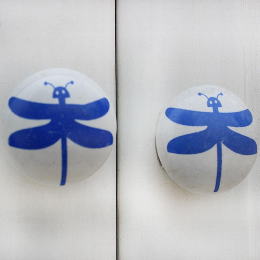 White Blue Butterfly Kids Knob