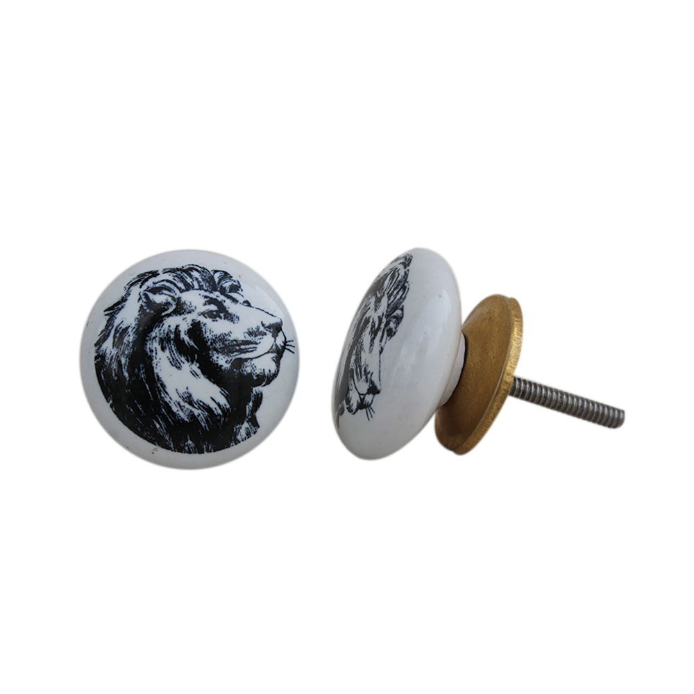 White Lion Face Flat Knob