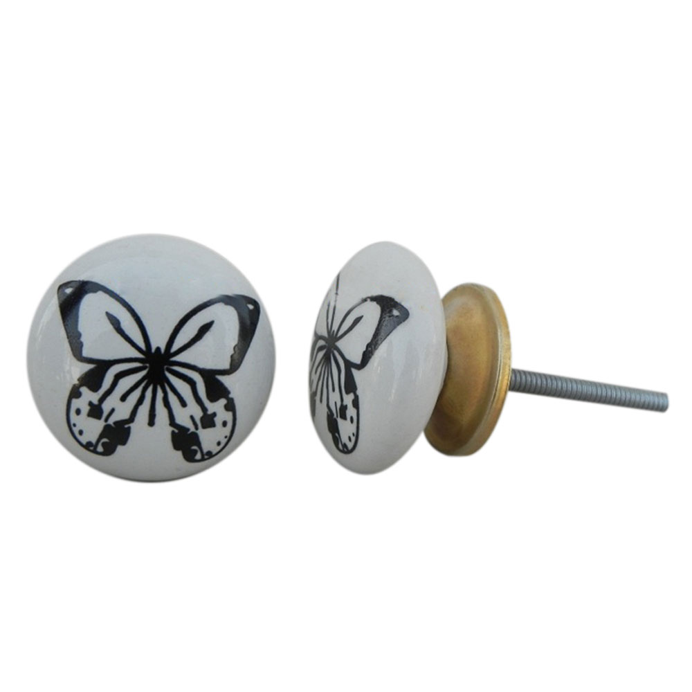 Black Butterfly Ceramic Cabinet Knob