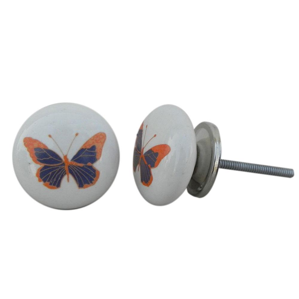 Blue Butterfly Ceramic Kids Knob