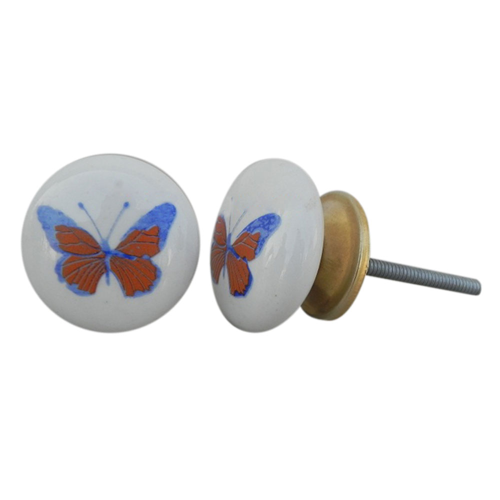 Orange Butterfly Ceramic Knob