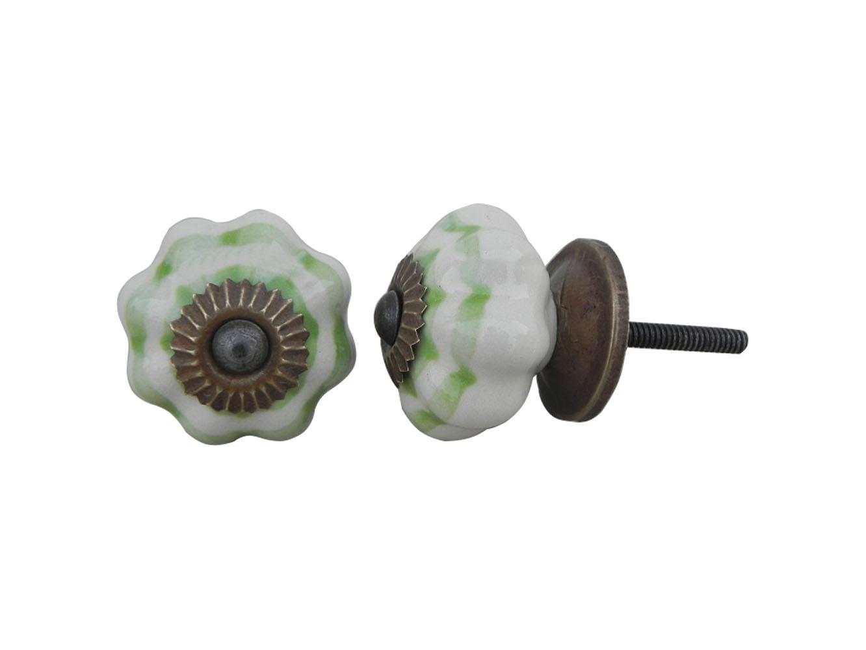 Cream Green Medium Knob