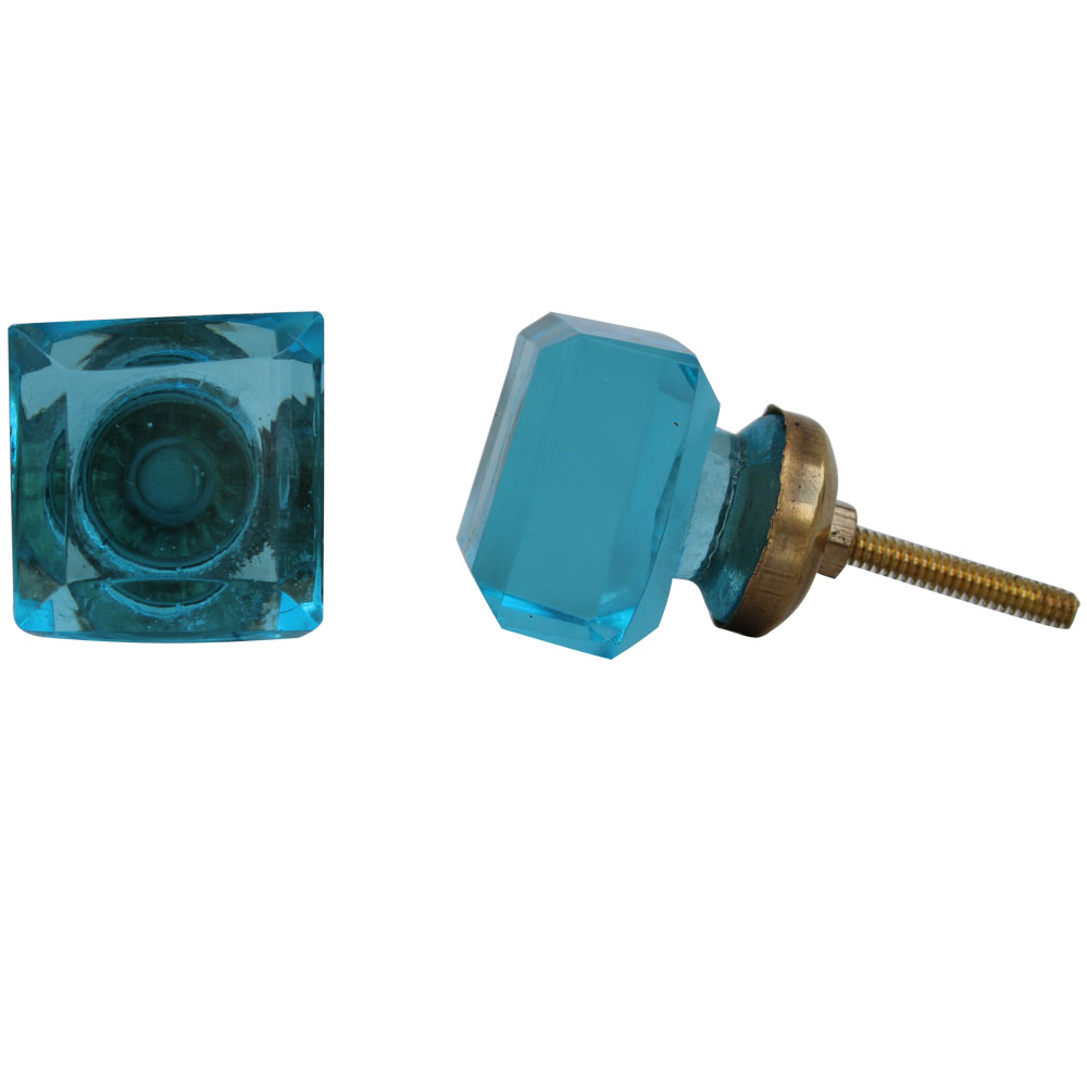 Turquoise Square Glass Knobs