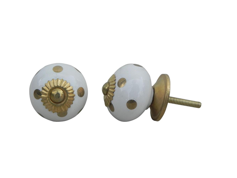 White Golden Dotted Ceramic Drawer Knob