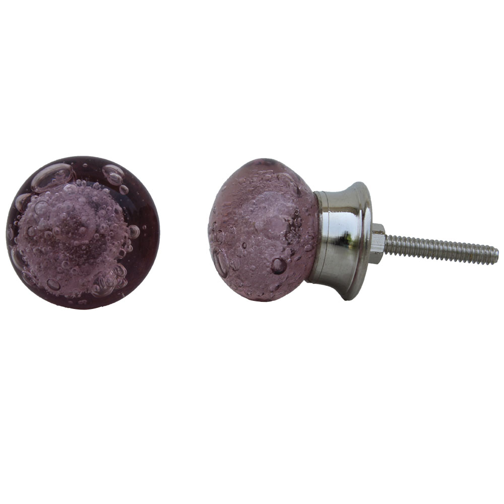 Purple Bubble Glass Drawer Knobs