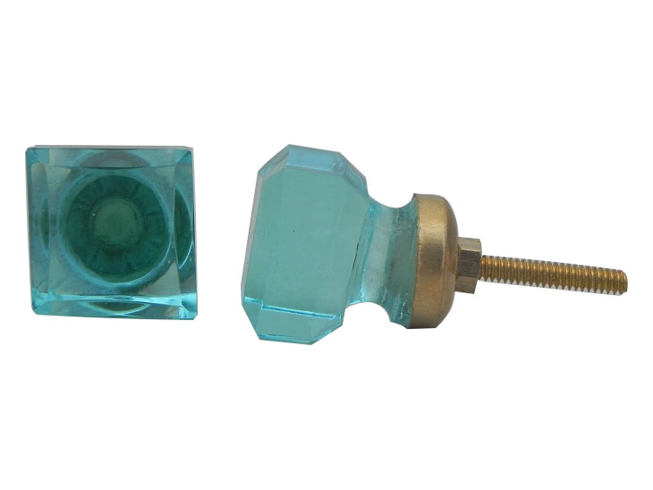 Turquoise Square Small Glass Dresser Knobs