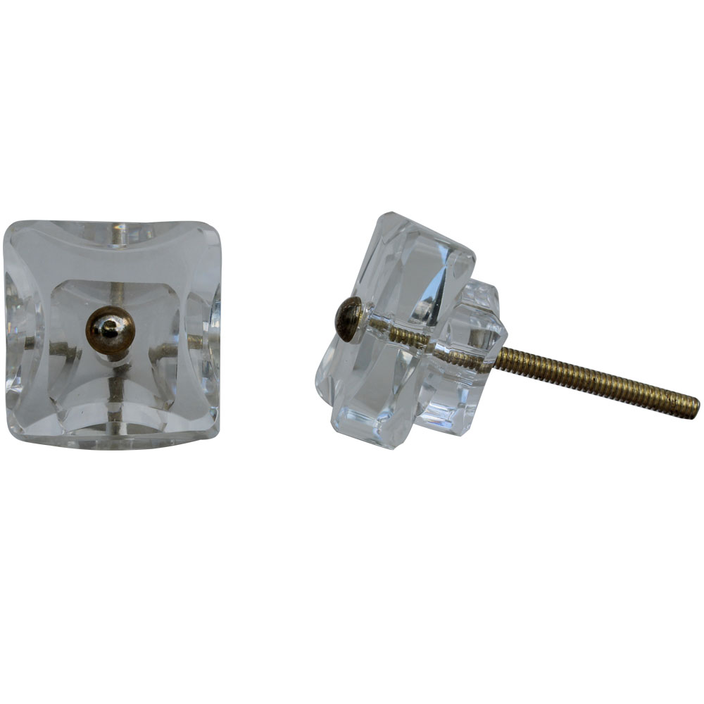 Clear Double Square Glass Cabinet Knobs