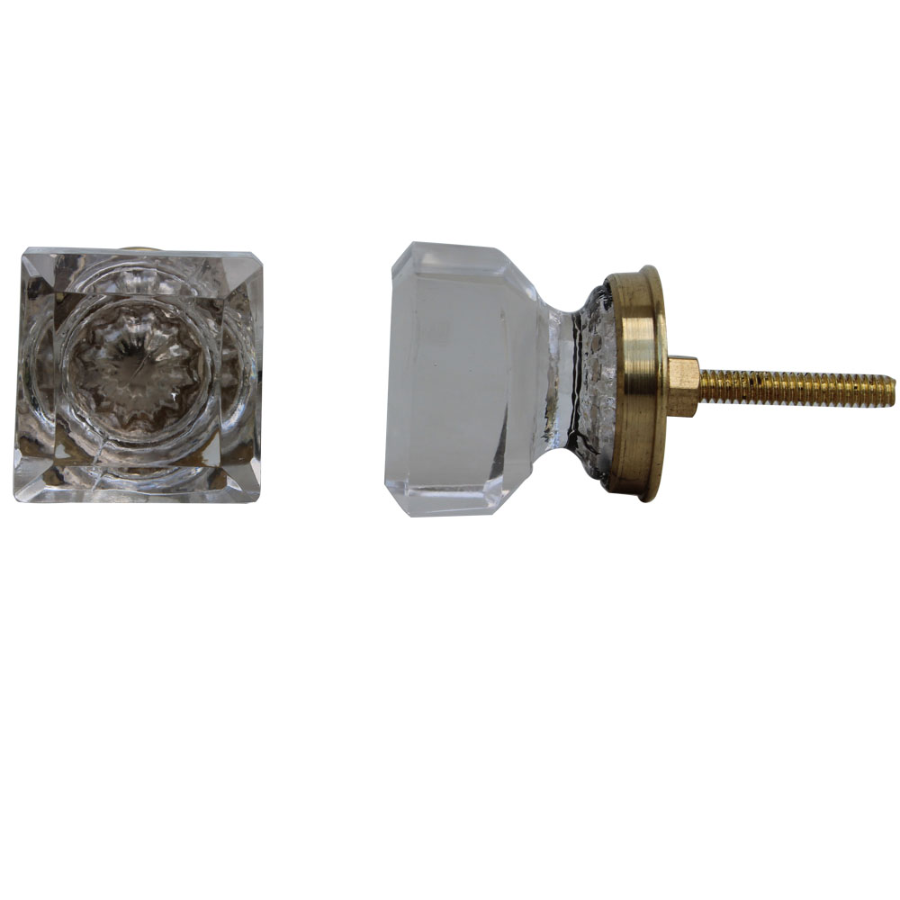 Clear Golden Square Cabinet Knobs