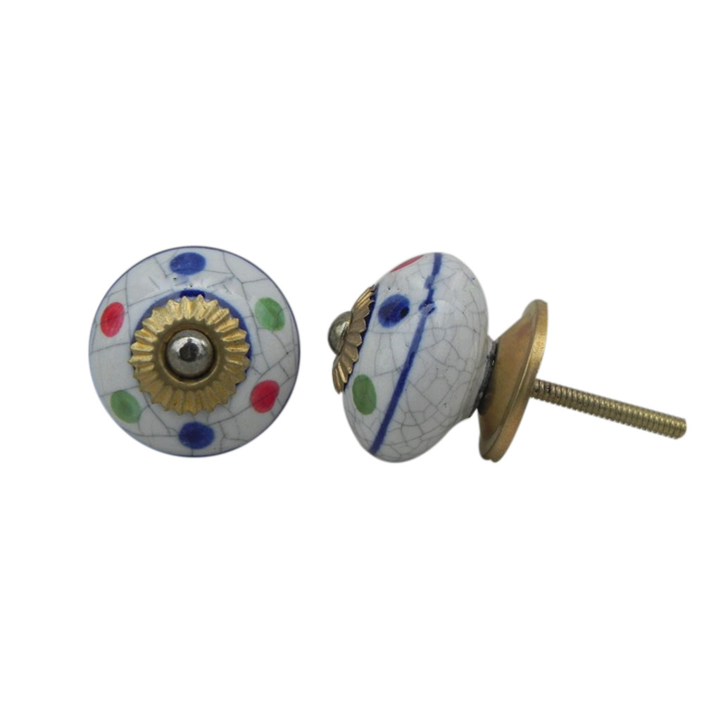 Mixed Dot Crackle Ceramic Wardrobe Knob